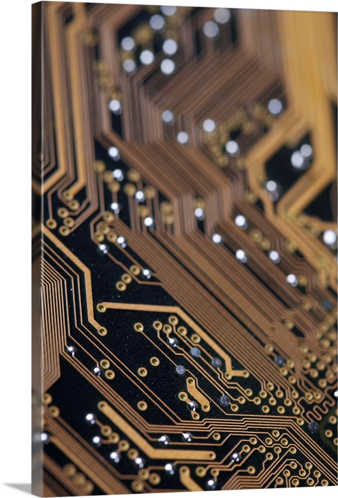 Large Solid-Faced Canvas Print Wall Art Print 20 x 30 entitled Computer Electronics Detail Solid-Faced Canvas Print entitled Computer Electronics Detail.  Close up of a computer circuit board.  Multiple sizes available.  Primary colors within this image include Black, Gray, Pale Blue.  Made in USA.  Satisfaction guaranteed.  Archival-quality UV-resistant inks.  Featuring a proprietary design, our canvases produce the tightest corners without any bubbles, ripples, or bumps and will not warp or sag over time.  Archival inks prevent fading and preserve as much fine detail as possible with no over-saturation or color shifting.