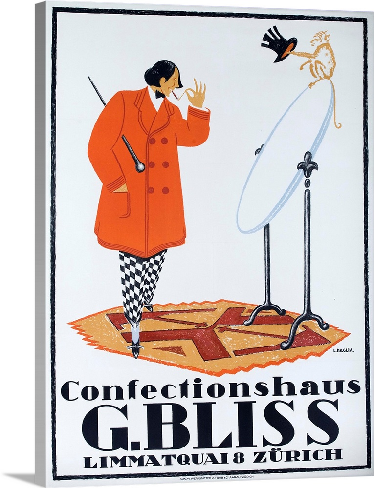 Large Solid-Faced Canvas Print Wall Art Print 30 x 40 entitled Confectionshaus G. Bliss Zurich, Swiss Clothing Advertising... Solid-Faced Canvas Print entitled Confectionshaus G. Bliss Zurich, Swiss Clothing Advertising Poster.  Stylish dandy looks at himself in a mirror in Swiss 1915 advertising poster illustrated by L. PAGLIA.  Multiple sizes available.  Primary colors within this image include Orange, Peach, White, Dark Navy Blue.  Made in USA.  Satisfaction guaranteed.  Archival-quality UV-resistant inks.  Archival inks prevent fading and preserve as much fine detail as possible with no over-saturation or color shifting.  Canvas depth is 1.25 and includes a finished backing with pre-installed hanging hardware.