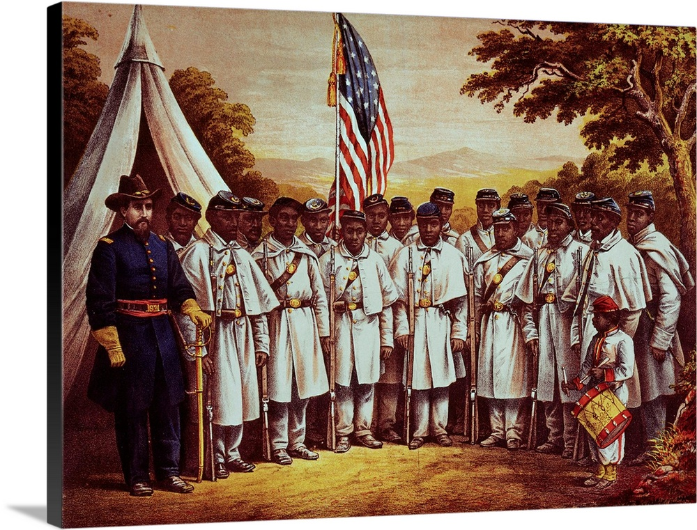 Large Solid-Faced Canvas Print Wall Art Print 48 x 36 entitled Early African American Regiment Posing at Camp William Penn... Solid-Faced Canvas Print entitled Early African American Regiment Posing at Camp William Penn, Philadelphia.  USA United States Soldiers at Camp William Penn, Philadelphia, Pennsylvania. Black Regiment. Rally Round The Flag, Boys Rally Once Again, shouting the Battle Cry of Freedom.  Multiple sizes available.  Primary colors within this image include Brown, Black, Gray, Silver.  Made in USA.  Satisfaction guaranteed.  Inks used are latex-based and designed to last.  Archival inks prevent fading and preserve as much fine detail as possible with no over-saturation or color shifting.  Featuring a proprietary design, our canvases produce the tightest corners without any bubbles, ripples, or bumps and will not warp or sag over time.