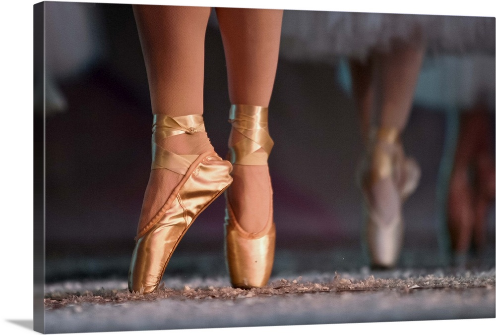 Large Solid-Faced Canvas Print Wall Art Print 30 x 20 entitled Feet wearing ballet shoes Solid-Faced Canvas Print entitled Feet wearing ballet shoes.  Feet dancing across stage during dress rehearsal for Canyon Concert Ballets performance.  Multiple sizes available.  Primary colors within this image include Brown, Dark Gray, Light Gray.  Made in the USA.  All products come with a 365 day workmanship guarantee.  Inks used are latex-based and designed to last.  Archival inks prevent fading and preserve as much fine detail as possible with no over-saturation or color shifting.  Featuring a proprietary design, our canvases produce the tightest corners without any bubbles, ripples, or bumps and will not warp or sag over time.