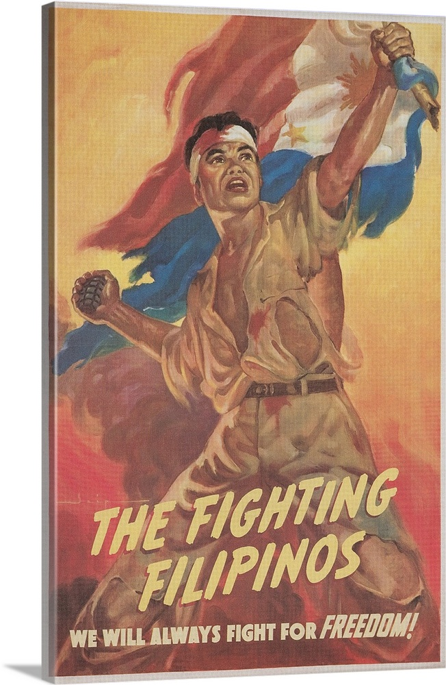 Large Solid-Faced Canvas Print Wall Art Print 24 x 36 entitled Filipino Freedom Fighter Poster Solid-Faced Canvas Print entitled Filipino Freedom Fighter Poster.  The Fighting Filipinos, We Will Always Fight for Freedom. Manuel Rey Isip.  Multiple sizes available.  Primary colors within this image include Pink, Peach, Black, Gray Blue.  Made in the USA.  All products come with a 365 day workmanship guarantee.  Archival-quality UV-resistant inks.  Canvas depth is 1.25 and includes a finished backing with pre-installed hanging hardware.  Canvas is handcrafted and made-to-order in the United States using high quality artist-grade canvas.