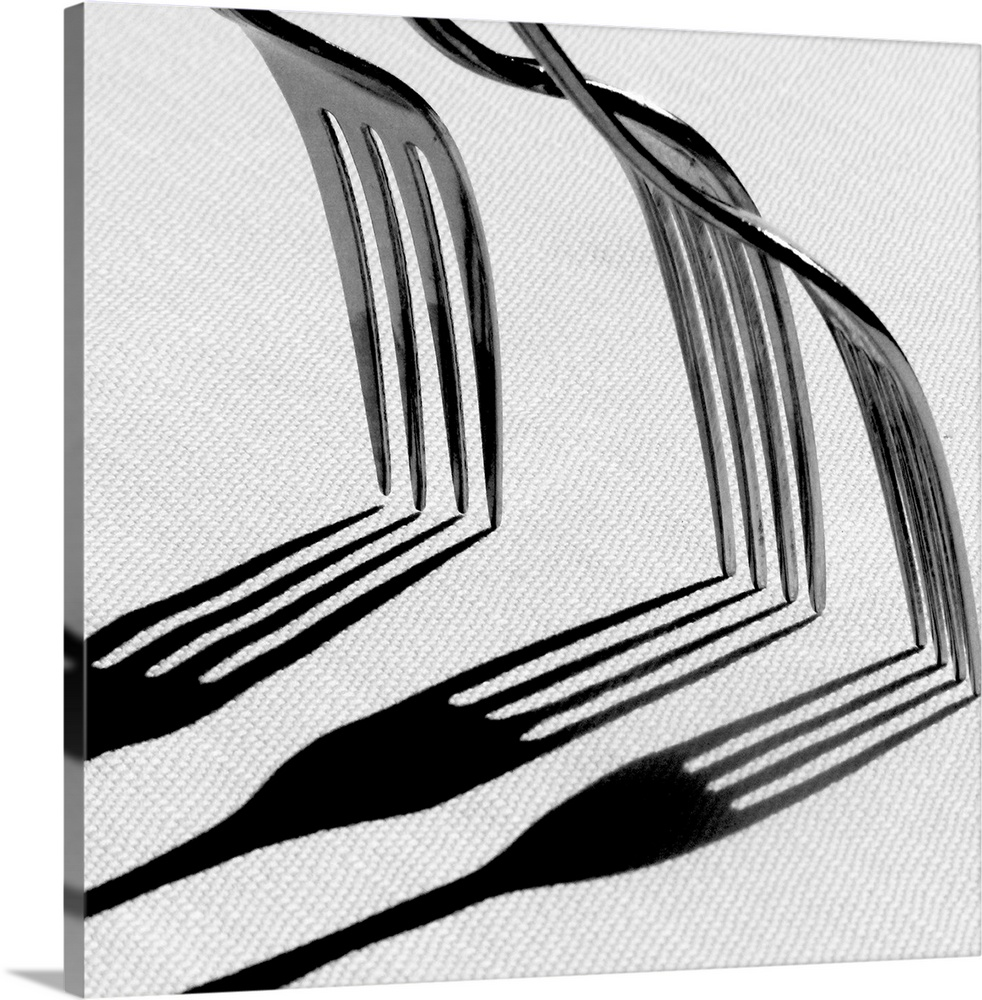 Large Solid-Faced Canvas Print Wall Art Print 20 x 20 entitled Forks with shadows Solid-Faced Canvas Print entitled Forks with shadows.  Multiple sizes available.  Primary colors within this image include Black, Gray, White.  Made in the USA.  All products come with a 365 day workmanship guarantee.  Inks used are latex-based and designed to last.  Canvas depth is 1.25 and includes a finished backing with pre-installed hanging hardware.  Archival inks prevent fading and preserve as much fine detail as possible with no over-saturation or color shifting.
