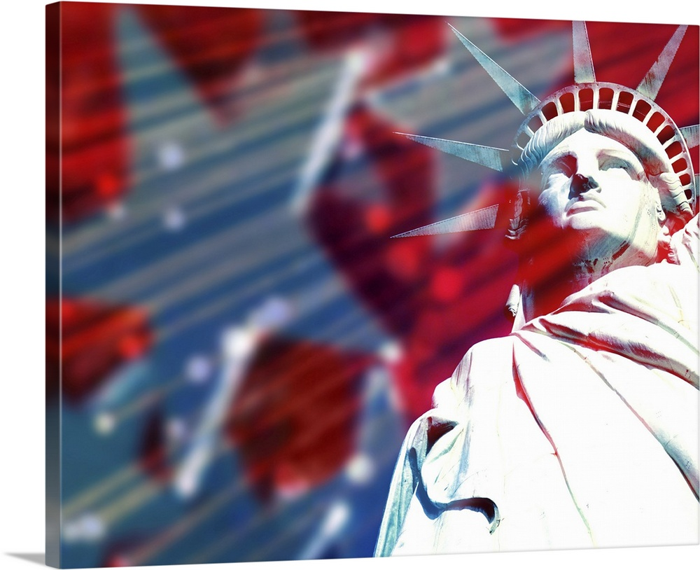 Large Solid-Faced Canvas Print Wall Art Print 45 x 36 entitled Freedom and statue of liberty Solid-Faced Canvas Print entitled Freedom and statue of liberty.  Multiple sizes available.  Primary colors within this image include Dark Red, Plum, White, Gray Blue.  Made in the USA.  All products come with a 365 day workmanship guarantee.  Inks used are latex-based and designed to last.  Archival inks prevent fading and preserve as much fine detail as possible with no over-saturation or color shifting.  Canvas is handcrafted and made-to-order in the United States using high quality artist-grade canvas.