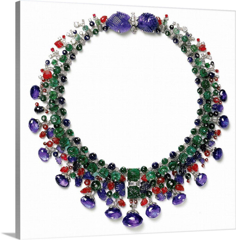 Large Solid-Faced Canvas Print Wall Art Print 20 x 20 entitled Gemstone Necklace With Amethyst, Ruby, Emerald And Diamond Solid-Faced Canvas Print entitled Gemstone Necklace With Amethyst, Ruby, Emerald And Diamond.  Cartier, 20th century. Private collection.  Multiple sizes available.  Primary colors within this image include Dark Red, Dark Blue, Black, White.  Made in the USA.  All products come with a 365 day workmanship guarantee.  Archival-quality UV-resistant inks.  Canvas depth is 1.25 and includes a finished backing with pre-installed hanging hardware.  Featuring a proprietary design, our canvases produce the tightest corners without any bubbles, ripples, or bumps and will not warp or sag over time.
