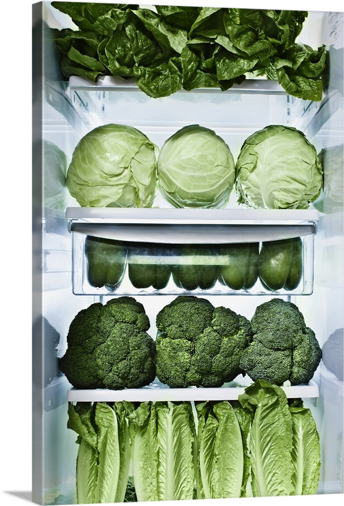 Large Gallery-Wrapped Canvas Wall Art Print 12 x 21 entitled Green vegetables in refrigerator Gallery-Wrapped Canvas entitled Green vegetables in refrigerator.  Multiple sizes available.  Primary colors within this image include Light Green Gray Silver Dark Forest Green.  Made in the USA.  Satisfaction guaranteed.  Archival-quality UV-resistant inks.  Canvas is acid-free and 20 millimeters thick.  Canvas frames are built with farmed or reclaimed domestic pine or poplar wood.
