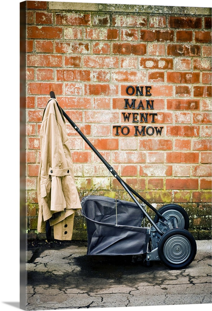 Large Gallery-Wrapped Canvas Wall Art Print 16 x 24 entitled Hand-push mower in country garden Gallery-Wrapped Canvas entitled Hand-push mower in country garden.  Multiple sizes available.  Primary colors within this image include Brown, Peach, Black, Light Gray.  Made in the USA.  All products come with a 365 day workmanship guarantee.  Archival-quality UV-resistant inks.  Museum-quality, artist-grade canvas mounted on sturdy wooden stretcher bars 1.5 thick.  Comes ready to hang.  Canvases are stretched across a 1.5 inch thick wooden frame with easy-to-mount hanging hardware.