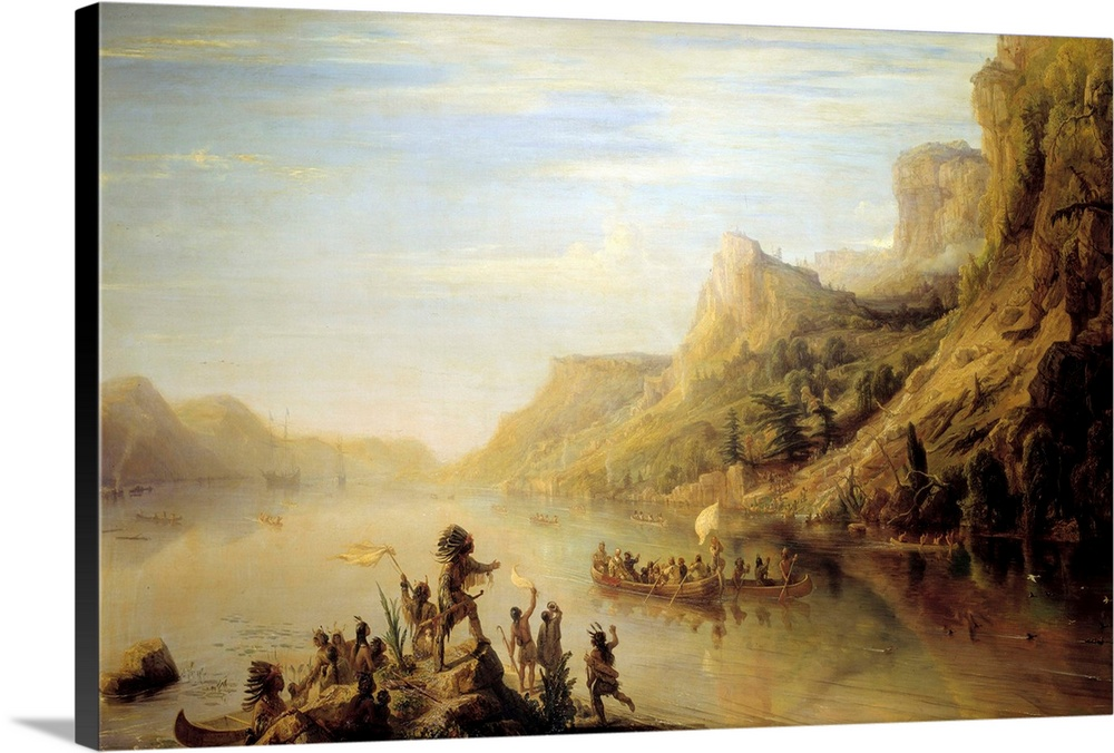 Large Solid-Faced Canvas Print Wall Art Print 30 x 20 entitled Jacques Cartier discovering the Saint Lawrence River, Canada Solid-Faced Canvas Print entitled Jacques Cartier discovering the Saint Lawrence River, Canada.  The French explorer Jacques Cartier 1491-1557 discovering and climbing up the Saint Lawrence River near Quebec, Canada in 1535. Painting by Jean Antoine Theodore Gudin 1802-1880, 1847, 142x266 cm. Versailles Museum, France.  Multiple sizes available.  Primary colors within this image include Brown, Peach, Black, White.  Made in the USA.  Satisfaction guaranteed.  Archival-quality UV-resistant inks.  Featuring a proprietary design, our canvases produce the tightest corners without any bubbles, ripples, or bumps and will not warp or sag over time.  Archival inks prevent fading and preserve as much fine detail as possible with no over-saturation or color shifting.