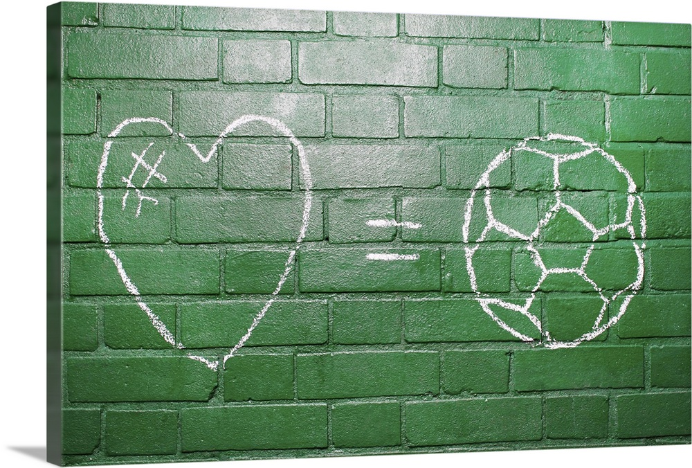 Large Solid-Faced Canvas Print Wall Art Print 30 x 20 entitled Love = Football drawn in chalk on wall. Solid-Faced Canvas Print entitled Love  Football drawn in chalk on wall..  Multiple sizes available.  Primary colors within this image include Forest Green, White, Dark Forest Green.  Made in the USA.  All products come with a 365 day workmanship guarantee.  Inks used are latex-based and designed to last.  Canvas is handcrafted and made-to-order in the United States using high quality artist-grade canvas.  Canvas depth is 1.25 and includes a finished backing with pre-installed hanging hardware.