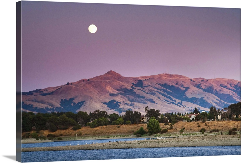 Large Solid-Faced Canvas Print Wall Art Print 30 x 20 entitled Moonrise Over Mission peak California at sunset time. Solid-Faced Canvas Print entitled Moonrise Over Mission peak California at sunset time..  Multiple sizes available.  Primary colors within this image include Forest Green, Dark Gray, Light Gray.  Made in USA.  All products come with a 365 day workmanship guarantee.  Inks used are latex-based and designed to last.  Canvas is handcrafted and made-to-order in the United States using high quality artist-grade canvas.  Canvas depth is 1.25 and includes a finished backing with pre-installed hanging hardware.