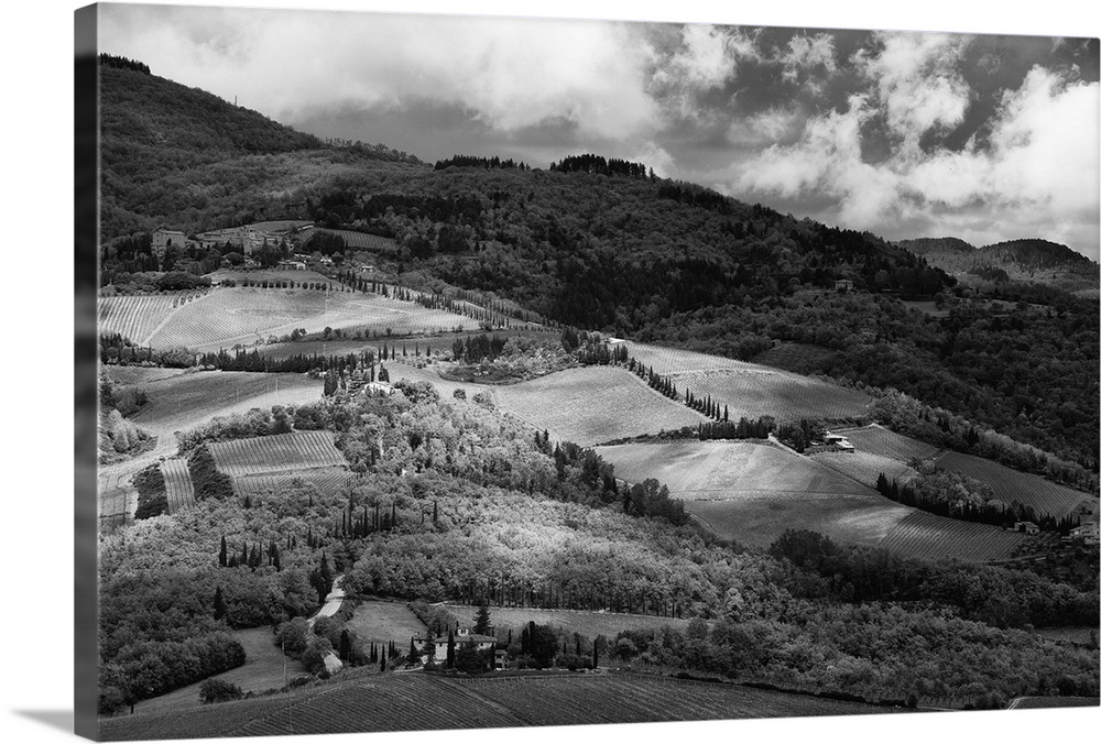 Large Solid-Faced Canvas Print Wall Art Print 30 x 20 entitled Patches of light and shadow on hills with vineyards in Chia... Solid-Faced Canvas Print entitled Patches of light and shadow on hills with vineyards in Chianti, Tuscany..  Multiple sizes available.  Primary colors within this image include Dark Gray, Silver.  Made in USA.  All products come with a 365 day workmanship guarantee.  Inks used are latex-based and designed to last.  Archival inks prevent fading and preserve as much fine detail as possible with no over-saturation or color shifting.  Featuring a proprietary design, our canvases produce the tightest corners without any bubbles, ripples, or bumps and will not warp or sag over time.