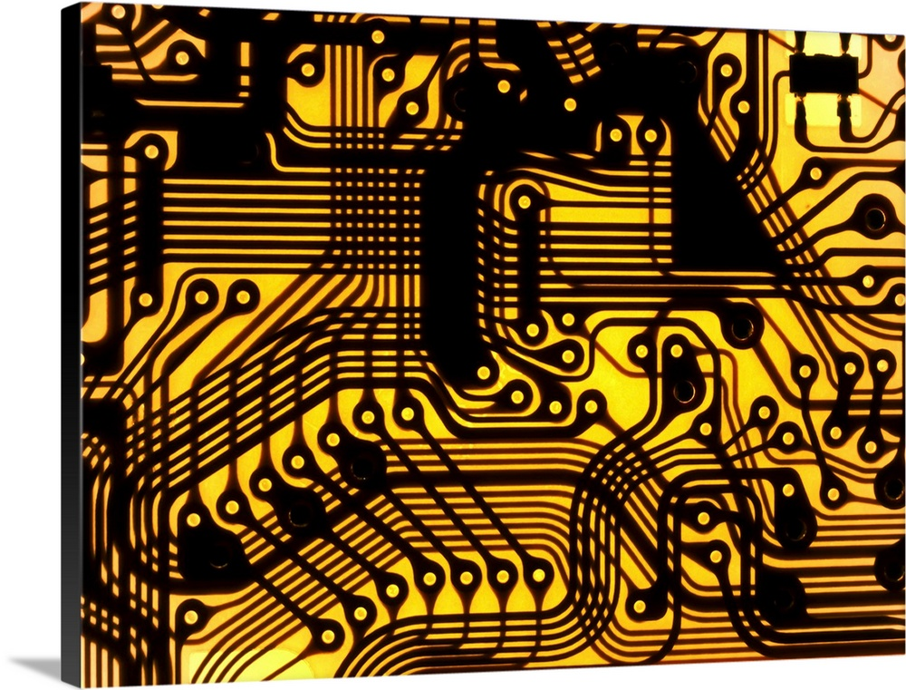 Large Solid-Faced Canvas Print Wall Art Print 40 x 30 entitled Printed circuit, macrophotograph Solid-Faced Canvas Print entitled Printed circuit, macrophotograph.  Macrophotograph of a printed circuit. A printed circuit consists of lines of a metal conductor printed on an insulating material base. The metal lines form a circuit that connects electronic components and so forms a functioning device.  Multiple sizes available.  Primary colors within this image include Yellow, Brown, Peach, Black.  Made in the USA.  All products come with a 365 day workmanship guarantee.  Archival-quality UV-resistant inks.  Featuring a proprietary design, our canvases produce the tightest corners without any bubbles, ripples, or bumps and will not warp or sag over time.  Archival inks prevent fading and preserve as much fine detail as possible with no over-saturation or color shifting.