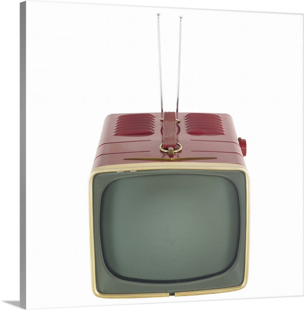 Large Gallery-Wrapped Canvas Wall Art Print 16 x 16 entitled Red Antique Television Gallery-Wrapped Canvas entitled Red Antique Television.  Multiple sizes available.  Primary colors within this image include Black, Dark Gray, Gray, White.  Made in the USA.  Satisfaction guaranteed.  Inks used are latex-based and designed to last.  Canvases have a UVB protection built in to protect against fading and moisture and are designed to last for over 100 years.  Canvas is acid-free and 20 millimeters thick.