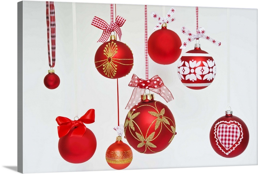 Ebay Christmas Baubles.Details About Solid Faced Canvas Print Wall Art Entitled Red Hanging Christmas Baubles