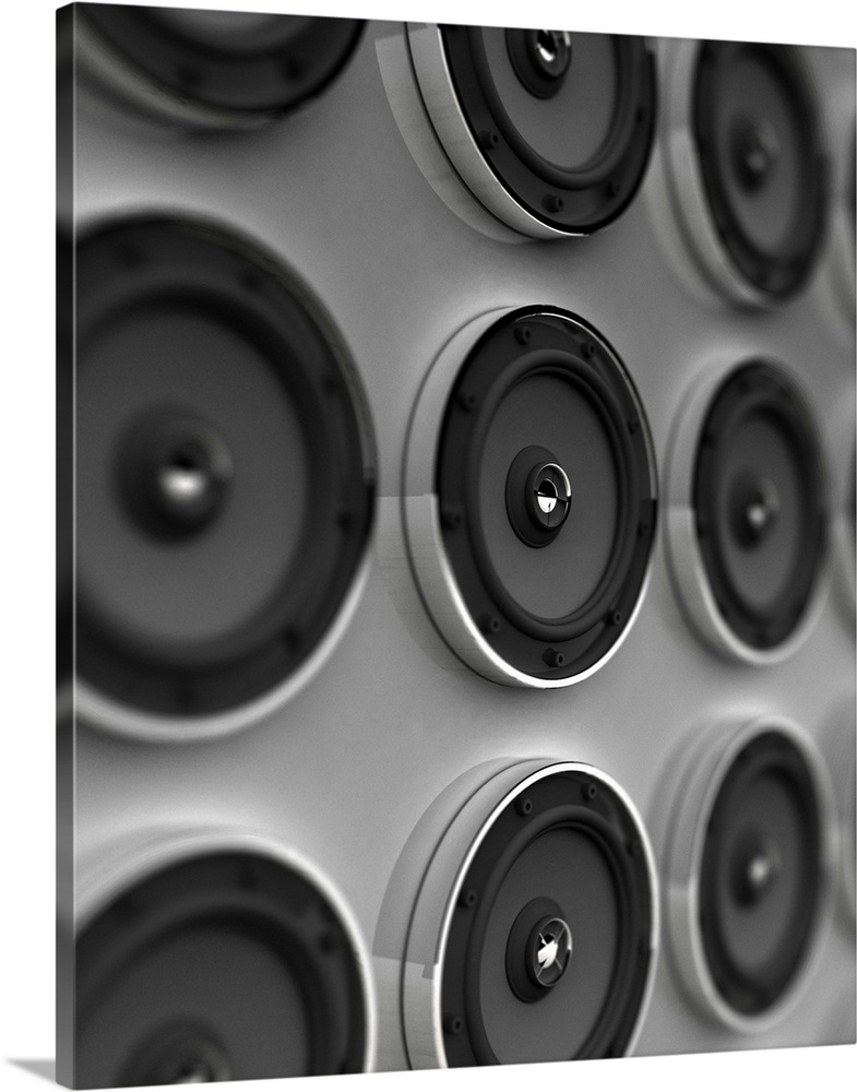 Large Gallery-Wrapped Canvas Wall Art Print 19 x 24 entitled Rows of speakers (Digital) Gallery-Wrapped Canvas entitled Rows of speakers Digital.  Multiple sizes available.  Primary colors within this image include Dark Gray, Light Gray.  Made in USA.  All products come with a 365 day workmanship guarantee.  Archival-quality UV-resistant inks.  Canvases are stretched across a 1.5 inch thick wooden frame with easy-to-mount hanging hardware.  Canvas is designed to prevent fading.