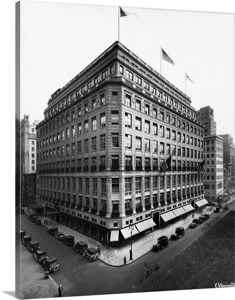Large Solid-Faced Canvas Print Wall Art Print 24 x 30 entitled Saks And Company Clothing Store Solid-Faced Canvas Print entitled Saks And Company Clothing Store.  Saks and Company on 5th Avenue.  Multiple sizes available.  Primary colors within this image include Gray, White.  Made in the USA.  All products come with a 365 day workmanship guarantee.  Inks used are latex-based and designed to last.  Canvas is handcrafted and made-to-order in the United States using high quality artist-grade canvas.  Canvas depth is 1.25 and includes a finished backing with pre-installed hanging hardware.