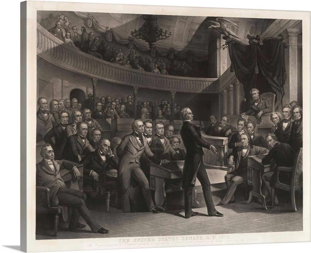 Large Solid-Faced Canvas Print Wall Art Print 30 x 24 entitled Senator Henry Clay Speaking Before The United States Senate Solid-Faced Canvas Print entitled Senator Henry Clay Speaking Before The United States Senate.  The United States Senate, 1850, by P. F. Rothermel, engraved by R. Whitechurch, published in Philadelphia by John M. Butler and Alfred Long, 1855, engraving, 30 38 x 37 12 in. Shows Senator Henry Clay speaking about the Compromise of 1850 in the Old Senate Chamber. Daniel Webster is seated to the left of Clay and John C. Calhoun to the left of the Speakers chair.  Multiple sizes available.  Primary colors within this image include White, Dark Forest Green.  Made in USA.  All products come with a 365 day workmanship guarantee.  Inks used are latex-based and designed to last.  Featuring a proprietary design, our canvases produce the tightest corners without any bubbles, ripples, or bumps and will not warp or sag over time.  Canvas is handcrafted and made-to-order in the United States using high quality artist-grade canvas.