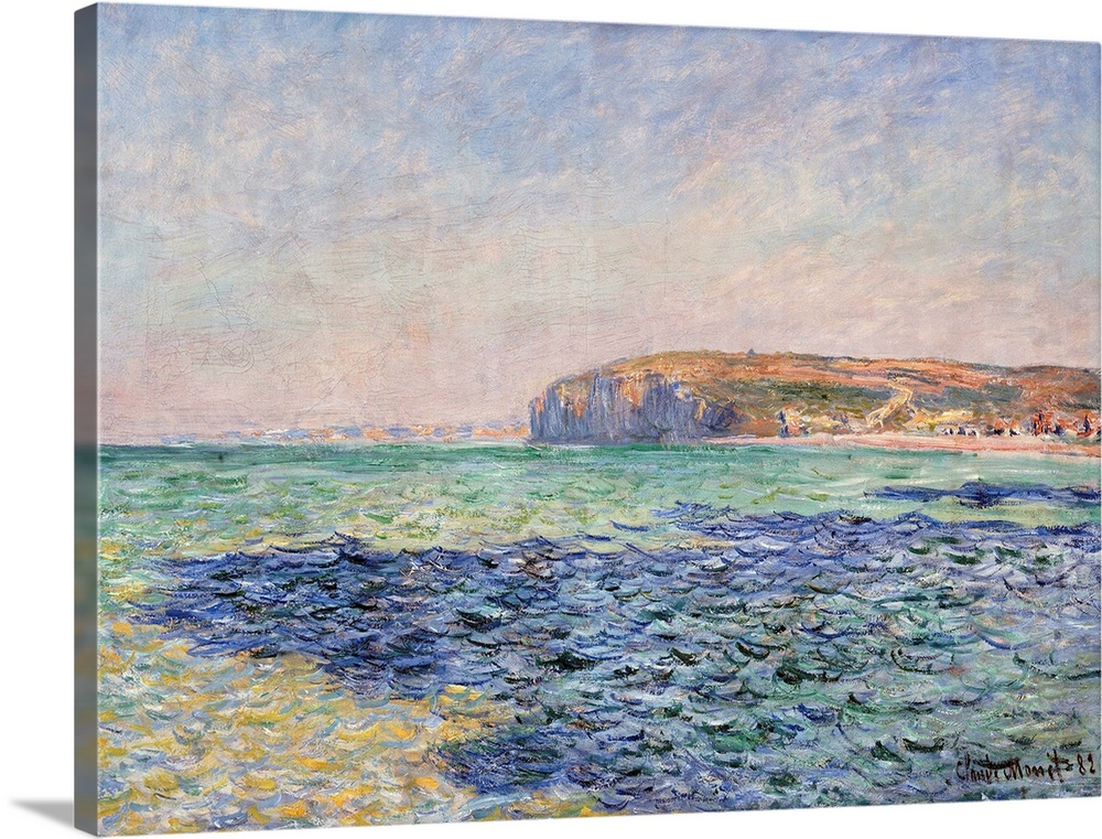 Large Solid-Faced Canvas Print Wall Art Print 40 x 30 entitled Shadows On The Sea - The Cliffs At Pourville By Claude Monet Solid-Faced Canvas Print entitled Shadows On The Sea - The Cliffs At Pourville By Claude Monet.  Claude Monet French, 18401926, Shadows on the Sea - The Cliffs at Pourville, 1882, oil on canvas, 57 x 80 cm 22.4 x 31.5 in, Ny Carlsberg Glyptotek, Copenhagen, Denmark.  Multiple sizes available.  Primary colors within this image include Dark Yellow, Black, Silver, Gray Blue.  Made in USA.  Satisfaction guaranteed.  Inks used are latex-based and designed to last.  Featuring a proprietary design, our canvases produce the tightest corners without any bubbles, ripples, or bumps and will not warp or sag over time.  Canvas is handcrafted and made-to-order in the United States using high quality artist-grade canvas.
