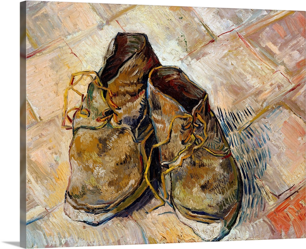 Large Solid-Faced Canvas Print Wall Art Print 30 x 24 entitled Shoes By Vincent Van Gogh Solid-Faced Canvas Print entitled Shoes By Vincent Van Gogh.  1888, oil on canvas, 45.7  55.2 cm 18  21.7 in, Metropolitan Museum of Art, New York.  Multiple sizes available.  Primary colors within this image include Brown, Peach, Black, White.  Made in the USA.  Satisfaction guaranteed.  Archival-quality UV-resistant inks.  Canvas depth is 1.25 and includes a finished backing with pre-installed hanging hardware.  Archival inks prevent fading and preserve as much fine detail as possible with no over-saturation or color shifting.