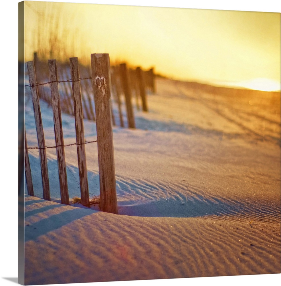 Large Solid-Faced Canvas Print Wall Art Print 20 x 20 entitled Sunrise beach fence with carved heart Solid-Faced Canvas Print entitled Sunrise beach fence with carved heart.  Undulating sand dunes, rippled sand long shadows, beach fence with carved heart and sunrise over Gulf Islands National Seashore in Pensacola Beach, Florida.  Multiple sizes available.  Primary colors within this image include Brown, Dark Gray, White.  Made in the USA.  Satisfaction guaranteed.  Inks used are latex-based and designed to last.  Featuring a proprietary design, our canvases produce the tightest corners without any bubbles, ripples, or bumps and will not warp or sag over time.  Archival inks prevent fading and preserve as much fine detail as possible with no over-saturation or color shifting.