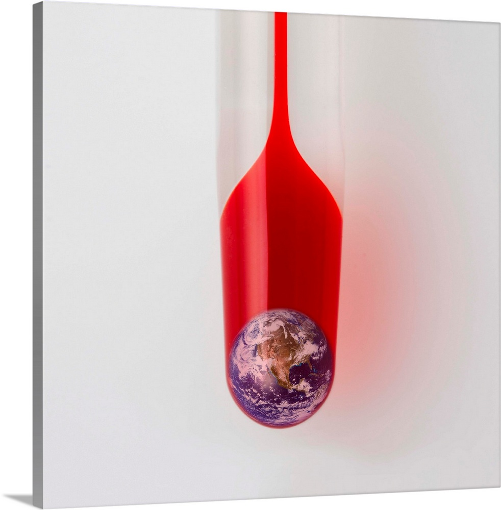 Large Solid-Faced Canvas Print Wall Art Print 20 x 20 entitled The earth in the thermometer Solid-Faced Canvas Print entitled The earth in the thermometer.  There is earth in the thermometer.  Multiple sizes available.  Primary colors within this image include Red, Brown, Pink, Silver.  Made in the USA.  All products come with a 365 day workmanship guarantee.  Inks used are latex-based and designed to last.  Canvas is handcrafted and made-to-order in the United States using high quality artist-grade canvas.  Canvas depth is 1.25 and includes a finished backing with pre-installed hanging hardware.