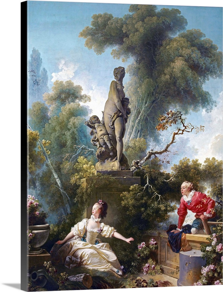 Large Solid-Faced Canvas Print Wall Art Print 30 x 40 entitled The Progress Of Love, The Rendezvous By Jean-Honore Fragonard Solid-Faced Canvas Print entitled The Progress Of Love, The Rendezvous By Jean-Honore Fragonard.  1771-1773. Oil on canvas. 243.8 x 317.5 cm 96 x 125 in. Frick Collection, New York, New York.  Multiple sizes available.  Primary colors within this image include Brown, Peach, White, Gray Blue.  Made in USA.  All products come with a 365 day workmanship guarantee.  Inks used are latex-based and designed to last.  Featuring a proprietary design, our canvases produce the tightest corners without any bubbles, ripples, or bumps and will not warp or sag over time.  Archival inks prevent fading and preserve as much fine detail as possible with no over-saturation or color shifting.