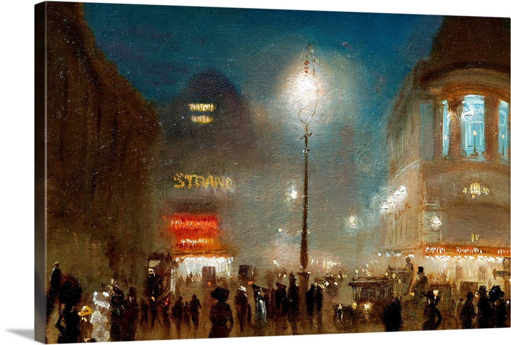 Large Solid-Faced Canvas Print Wall Art Print 30 x 20 entitled The Strand, London, At Theater Time By George Hyde-Pownall Solid-Faced Canvas Print entitled The Strand, London, At Theater Time By George Hyde-Pownall.  Multiple sizes available.  Primary colors within this image include Dark Red, Dark Gray, Silver, Dark Navy Blue.  Made in USA.  Satisfaction guaranteed.  Inks used are latex-based and designed to last.  Featuring a proprietary design, our canvases produce the tightest corners without any bubbles, ripples, or bumps and will not warp or sag over time.  Canvas is handcrafted and made-to-order in the United States using high quality artist-grade canvas.