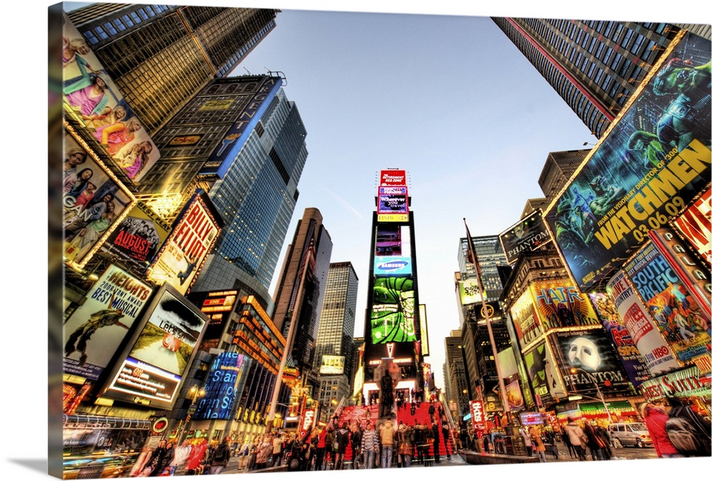 Large Solid-Faced Canvas Print Wall Art Print 30 x 20 entitled Times Square, New York City Solid-Faced Canvas Print entitled Times Square, New York City.  Times Square, New York City. HDR.  Multiple sizes available.  Primary colors within this image include Dark Red, Peach, Black, White.  Made in USA.  Satisfaction guaranteed.  Archival-quality UV-resistant inks.  Archival inks prevent fading and preserve as much fine detail as possible with no over-saturation or color shifting.  Canvas is handcrafted and made-to-order in the United States using high quality artist-grade canvas.