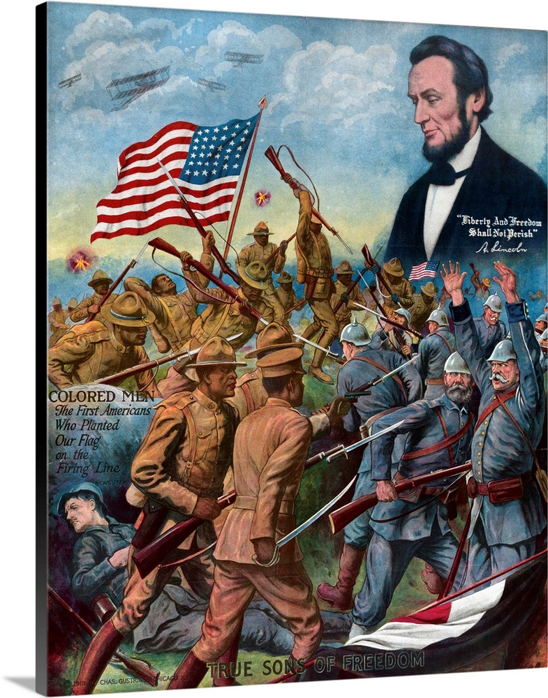 Large Solid-Faced Canvas Print Wall Art Print 36 x 45 entitled True Sons Of Freedom Poster With African-American Soldiers ... Solid-Faced Canvas Print entitled True Sons Of Freedom Poster With African-American Soldiers Fighting German Soldiers.  True Sons of Freedom WWI poster showing African-American soldiers fighting Germans, with a hovering vision of Abraham Lincoln and the words Colored Men - The First Americans Who Planted Our Flag on the Firing Line. Published in Chicago by Chas. Gustrine, 1918, lithograph. Private collection.  Multiple sizes available.  Primary colors within this image include Orange, Dark Red, Black, Silver.  Made in USA.  Satisfaction guaranteed.  Inks used are latex-based and designed to last.  Canvas depth is 1.25 and includes a finished backing with pre-installed hanging hardware.  Canvas is handcrafted and made-to-order in the United States using high quality artist-grade canvas.