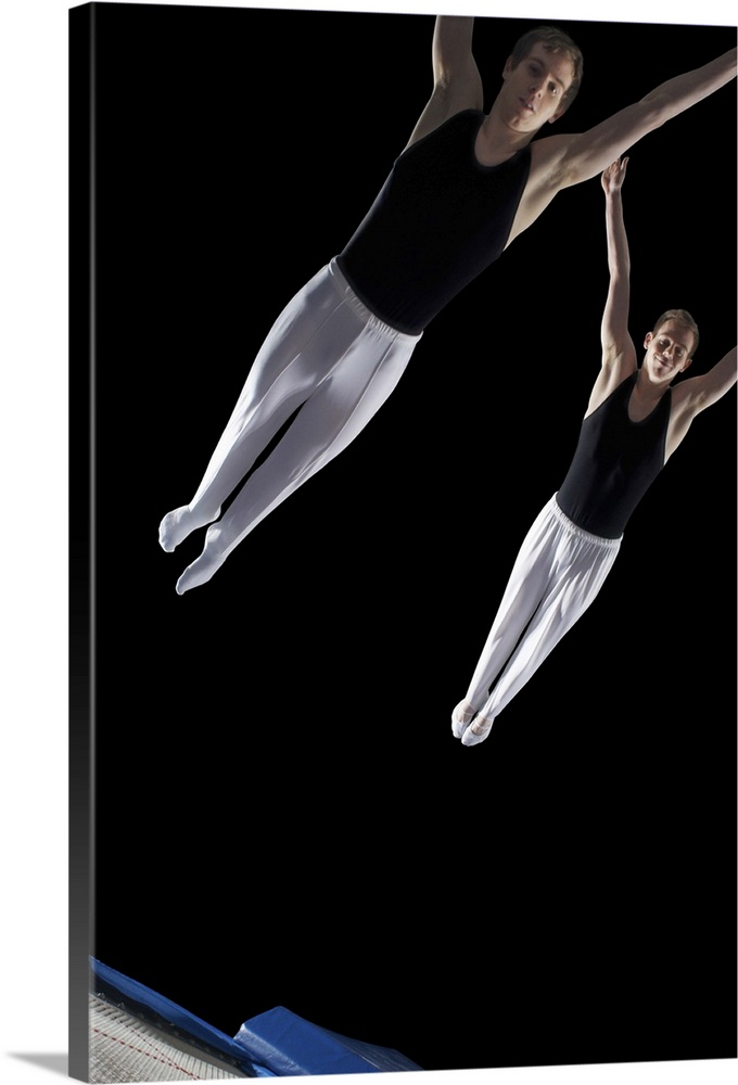Solid-Faced Canvas Print Wall Art entitled Two male gymnasts