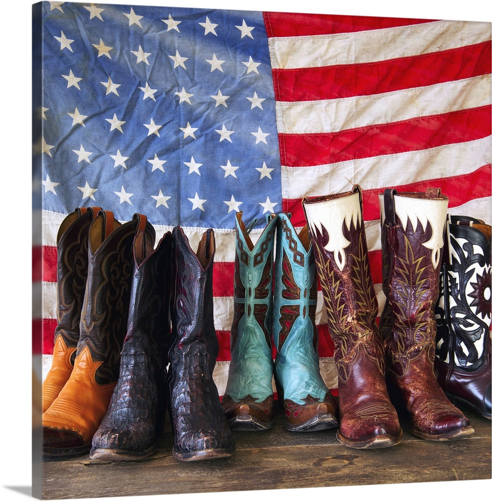 Large Solid-Faced Canvas Print Wall Art Print 20 x 20 entitled Variation of cowboy shoes Solid-Faced Canvas Print entitled Variation of cowboy shoes.  Multiple sizes available.  Primary colors within this image include Dark Red, Peach, Black, White.  Made in the USA.  All products come with a 365 day workmanship guarantee.  Inks used are latex-based and designed to last.  Archival inks prevent fading and preserve as much fine detail as possible with no over-saturation or color shifting.  Featuring a proprietary design, our canvases produce the tightest corners without any bubbles, ripples, or bumps and will not warp or sag over time.