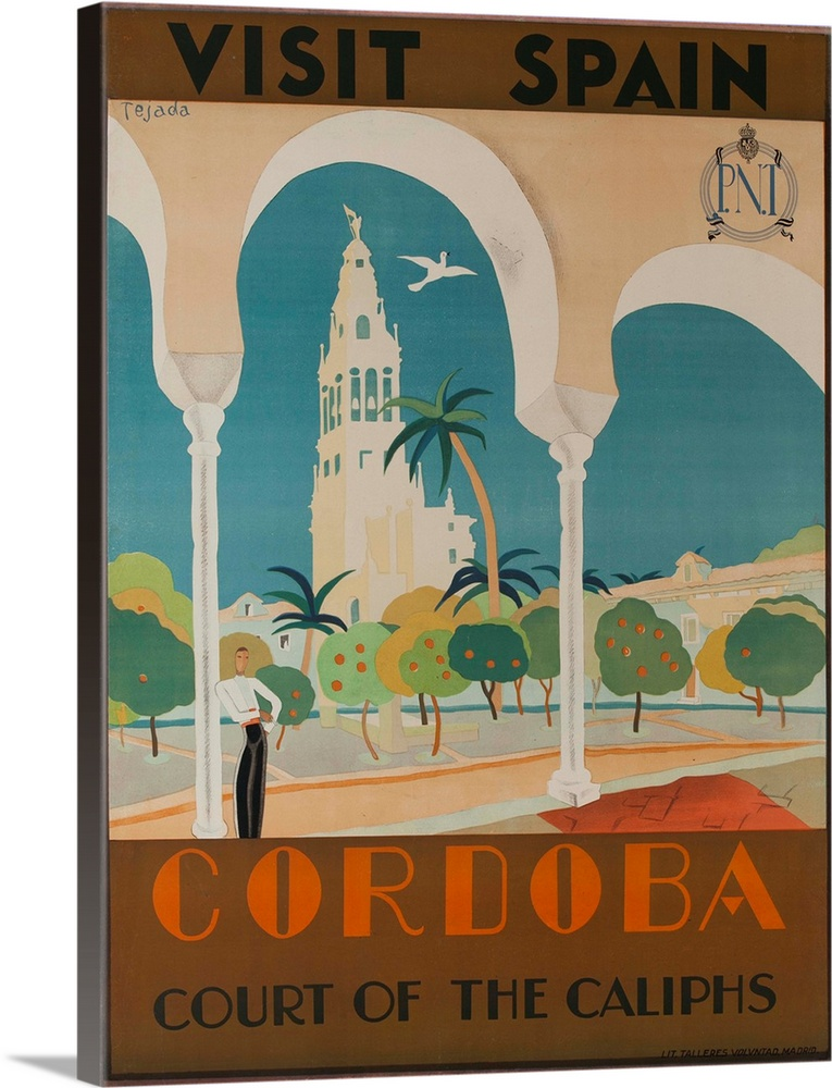 Large Solid-Faced Canvas Print Wall Art Print 30 x 40 entitled Visit Spain, Cordoba Court Of The Caliphs Spanish Travel Po... Solid-Faced Canvas Print entitled Visit Spain, Cordoba Court Of The Caliphs Spanish Travel Poster.  Spanish National Railways poster illustrated by Tejada, art deco image of stylized man standing in courtyard in the shadow of cathedral, surrounded by fruit trees.  Multiple sizes available.  Primary colors within this image include Brown, Silver, Gray Blue.  Made in USA.  Satisfaction guaranteed.  Inks used are latex-based and designed to last.  Canvas is handcrafted and made-to-order in the United States using high quality artist-grade canvas.  Archival inks prevent fading and preserve as much fine detail as possible with no over-saturation or color shifting.