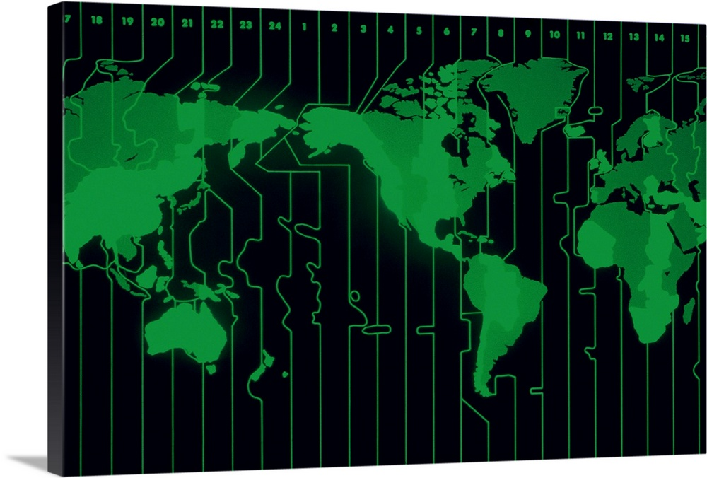 Large Solid-Faced Canvas Print Wall Art Print 30 x 20 entitled World map displaying time zones Solid-Faced Canvas Print entitled World map displaying time zones.  Multiple sizes available.  Primary colors within this image include Forest Green, Black, Dark Forest Green.  Made in USA.  Satisfaction guaranteed.  Archival-quality UV-resistant inks.  Archival inks prevent fading and preserve as much fine detail as possible with no over-saturation or color shifting.  Featuring a proprietary design, our canvases produce the tightest corners without any bubbles, ripples, or bumps and will not warp or sag over time.