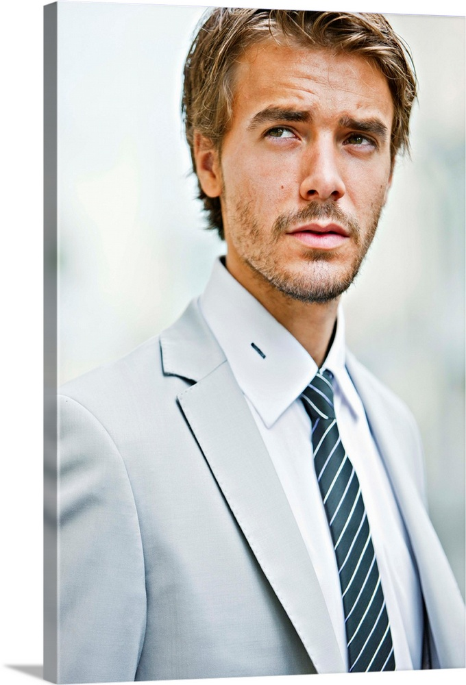 Large Gallery-Wrapped Canvas Wall Art Print 16 x 24 entitled Young Businessman Looking Away Gallery-Wrapped Canvas entitled Young Businessman Looking Away.  Handsome Young Businessman Looking at camera.  Multiple sizes available.  Primary colors within this image include Dark Gray Light Gray White.  Made in the USA.  All products come with a 365 day workmanship guarantee.  Archival-quality UV-resistant inks.  Canvases have a UVB protection built in to protect against fading and moisture and are designed to last for over 100 years.  Museum-quality artist-grade canvas mounted on sturdy wooden stretcher bars 1.5 thick.  Comes ready to hang.