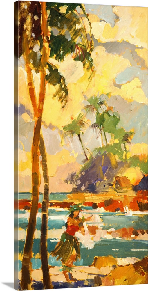Large Gallery-Wrapped Canvas Wall Art Print 12 x 24 entitled Aloha Dancer Gallery-Wrapped Canvas entitled Aloha Dancer.  Oversized vertical painting of a female Hawaiian dancer in a grass skirt on the beach standing beneath two very tall palm trees.  In the background beyond the water is a shoreline and above is a sky with large fluffy clouds.  Painted with rough strokes and minimal detail.  Multiple sizes available.  Primary colors within this image include Brown Peach White Dark Forest Green.  Made in the USA.  All products come with a 365 day workmanship guarantee.  Inks used are latex-based and designed to last.  Canvas is designed to prevent fading.  Canvases have a UVB protection built in to protect against fading and moisture and are designed to last for over 100 years.
