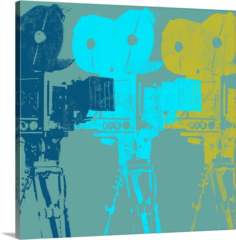 Large Gallery-Wrapped Canvas Wall Art Print 16 x 16 entitled Projectors Gallery-Wrapped Canvas entitled Projectors.  Contemporary painting of three colorful vintage camera silhouettes overlapping each other.  Multiple sizes available.  Primary colors within this image include Dark Yellow Black Muted Blue Teal.  Made in USA.  Satisfaction guaranteed.  Archival-quality UV-resistant inks.  Canvases have a UVB protection built in to protect against fading and moisture and are designed to last for over 100 years.  Canvas is a 65 polyester 35 cotton base with two acrylic latex primer basecoats and a semi-gloss inkjet receptive topcoat.