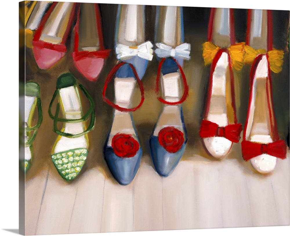 Large Solid-Faced Canvas Print Wall Art Print 30 x 24 entitled Shoe Siege Solid-Faced Canvas Print entitled Shoe Siege.  Big painting on canvas of different pairs of shoes lined up in two rows.  Multiple sizes available.  Primary colors within this image include Dark Red, Brown, Black, White.  Made in USA.  All products come with a 365 day workmanship guarantee.  Inks used are latex-based and designed to last.  Featuring a proprietary design, our canvases produce the tightest corners without any bubbles, ripples, or bumps and will not warp or sag over time.  Canvas is handcrafted and made-to-order in the United States using high quality artist-grade canvas.