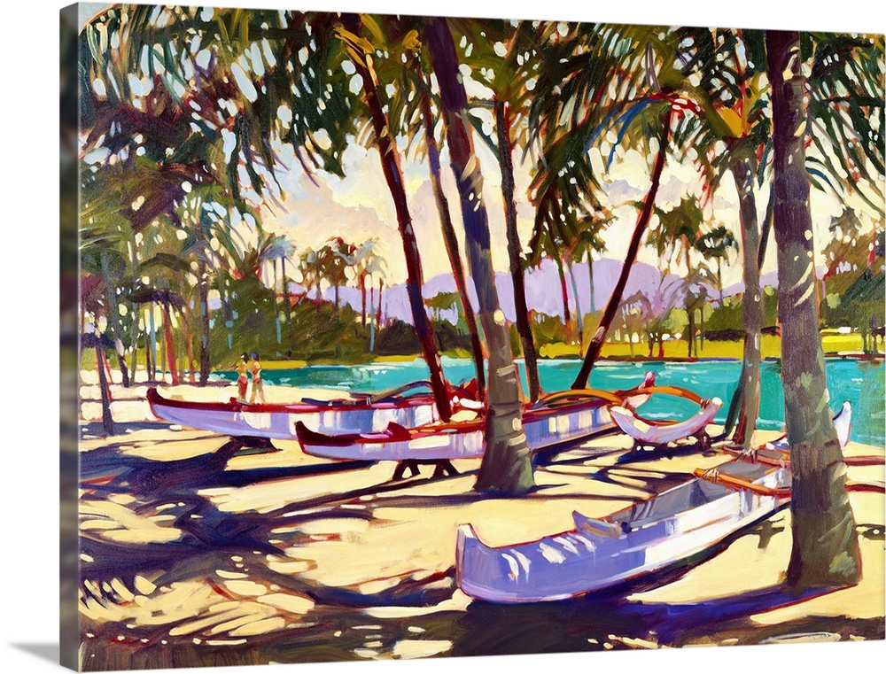 Large Solid-Faced Canvas Print Wall Art Print 40 x 30 entitled Three Canoes and Palm Shadows Solid-Faced Canvas Print entitled Three Canoes and Palm Shadows.  TravelTransportation, Landscapes.  Multiple sizes available.  Primary colors within this image include Yellow, Dark Red, Brown, White.  Made in the USA.  Satisfaction guaranteed.  Inks used are latex-based and designed to last.  Archival inks prevent fading and preserve as much fine detail as possible with no over-saturation or color shifting.  Canvas is handcrafted and made-to-order in the United States using high quality artist-grade canvas.