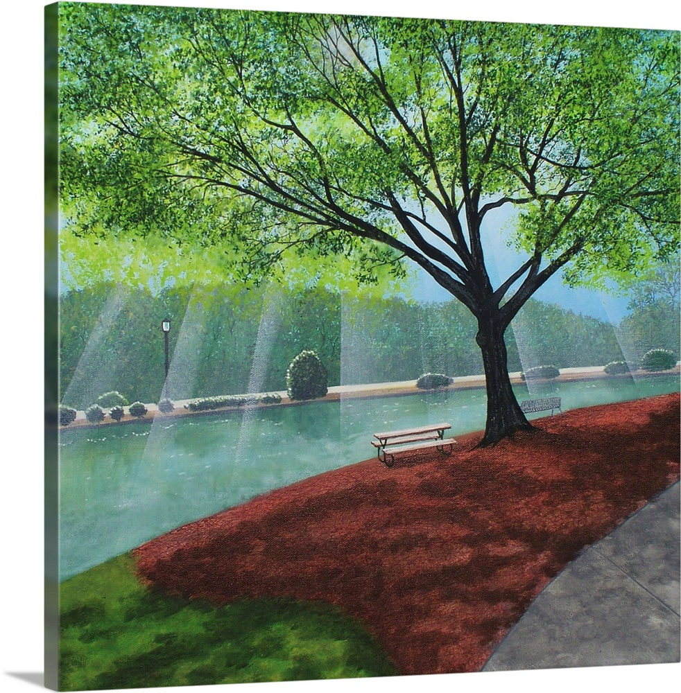 Large Solid-Faced Canvas Print Wall Art Print 24 x 24 entitled Morning Walk at Freedom Park Solid-Faced Canvas Print entitled Morning Walk at Freedom Park.  Freedom Park landscape painting on a square canvas with light beaming onto the water behind the trees.  Multiple sizes available.  Primary colors within this image include Forest Green, Dark Gray, Lime Green, Light Gray Blue.  Made in USA.  All products come with a 365 day workmanship guarantee.  Archival-quality UV-resistant inks.  Archival inks prevent fading and preserve as much fine detail as possible with no over-saturation or color shifting.  Canvas depth is 1.25 and includes a finished backing with pre-installed hanging hardware.