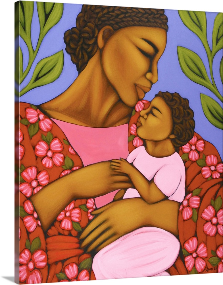 Large Gallery-Wrapped Canvas Wall Art Print 16 x 20 entitled African Mother and Baby Gallery-Wrapped Canvas entitled African Mother and Baby.  Multiple sizes available.  Primary colors within this image include Brown Light Purple Dark Gray Royal Blue.  Made in USA.  Satisfaction guaranteed.  Archival-quality UV-resistant inks.  Canvas is acid-free and 20 millimeters thick.  Canvases have a UVB protection built in to protect against fading and moisture and are designed to last for over 100 years.