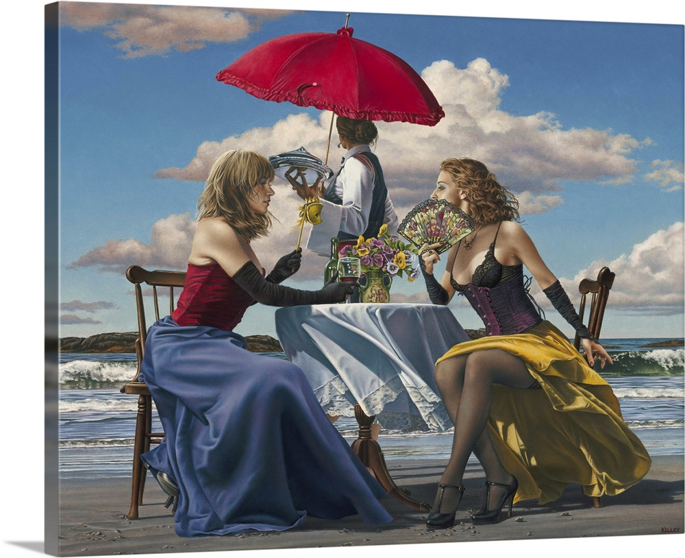 Large Solid-Faced Canvas Print Wall Art Print 30 x 24 entitled Cafe Oceanus Solid-Faced Canvas Print entitled Cafe Oceanus.  Contemporary painting of two women wearing lingerie sitting at a table on the beach. With another woman standing behind them holding a red umbrella.  Multiple sizes available.  Primary colors within this image include Dark Red, Dark Gray, Light Gray, Gray Blue.  Made in USA.  All products come with a 365 day workmanship guarantee.  Inks used are latex-based and designed to last.  Canvas is handcrafted and made-to-order in the United States using high quality artist-grade canvas.  Canvas depth is 1.25 and includes a finished backing with pre-installed hanging hardware.