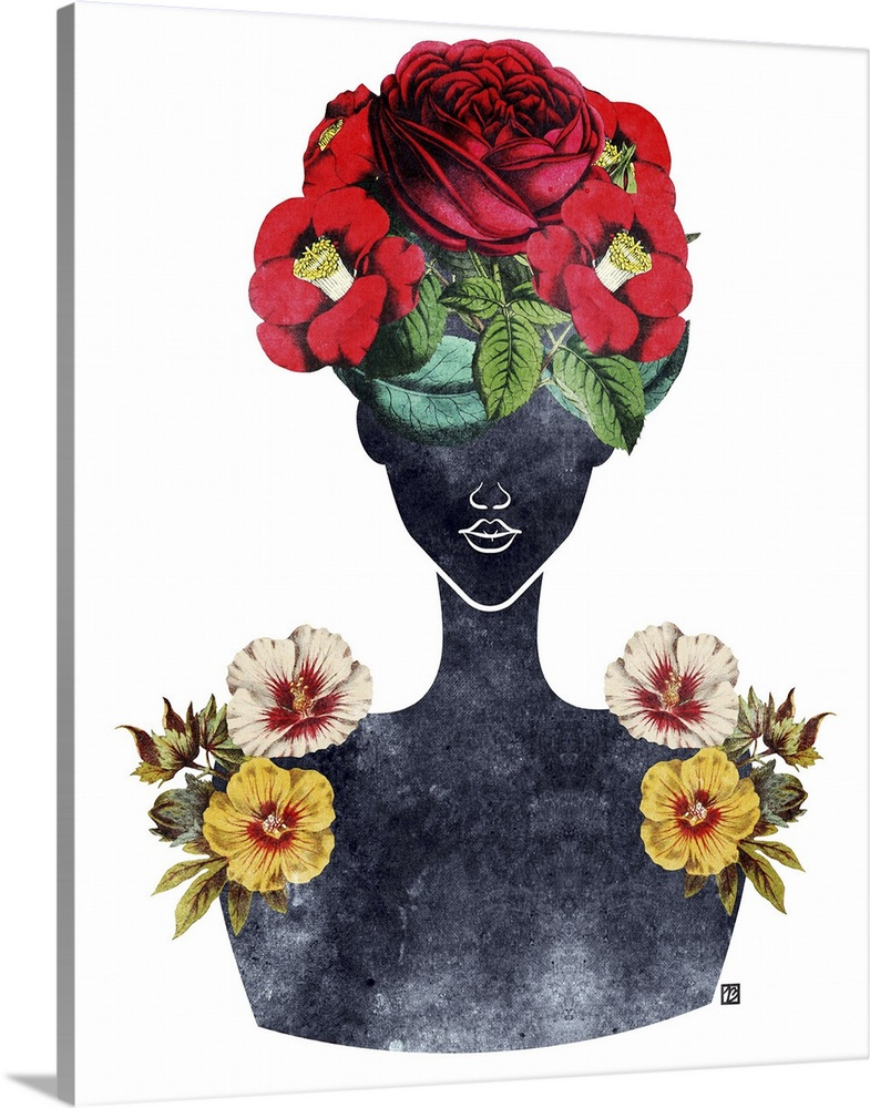 Solid-Faced Canvas Print Wall Art entitled Flower Crown Silhouette III