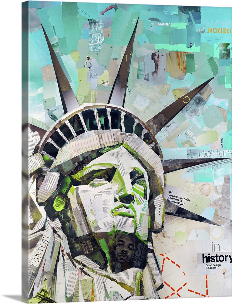 Large Solid-Faced Canvas Print Wall Art Print 36 x 48 entitled Freedom Solid-Faced Canvas Print entitled Freedom.  Mixed media artwork of the statue of liberty made from cut magazine and book pages.  Multiple sizes available.  Primary colors within this image include Light Green, Black, Gray, White.  Made in USA.  Satisfaction guaranteed.  Archival-quality UV-resistant inks.  Archival inks prevent fading and preserve as much fine detail as possible with no over-saturation or color shifting.  Featuring a proprietary design, our canvases produce the tightest corners without any bubbles, ripples, or bumps and will not warp or sag over time.