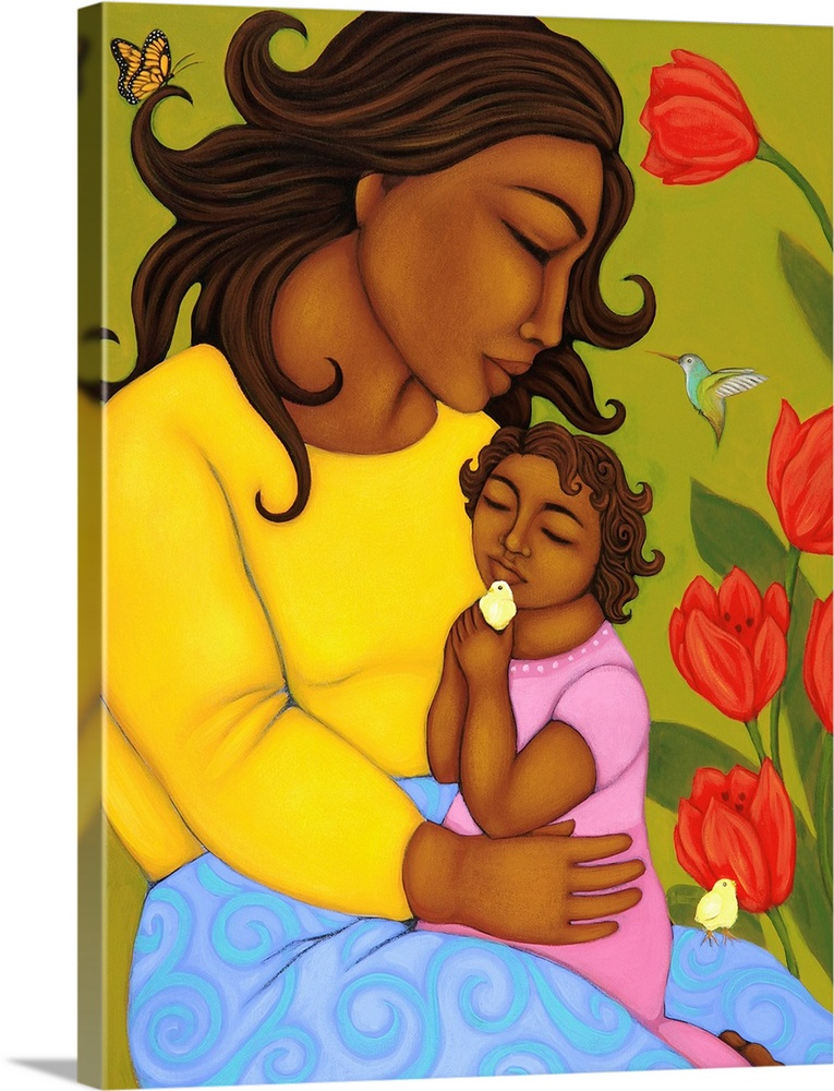 Large Gallery-Wrapped Canvas Wall Art Print 18 x 24 entitled Mother and Child Gallery-Wrapped Canvas entitled Mother and Child.  Multiple sizes available.  Primary colors within this image include Dark Red Light Yellow Sky Blue Dark Forest Green.  Made in USA.  All products come with a 365 day workmanship guarantee.  Inks used are latex-based and designed to last.  Canvas is designed to prevent fading.  Canvas is acid-free and 20 millimeters thick.