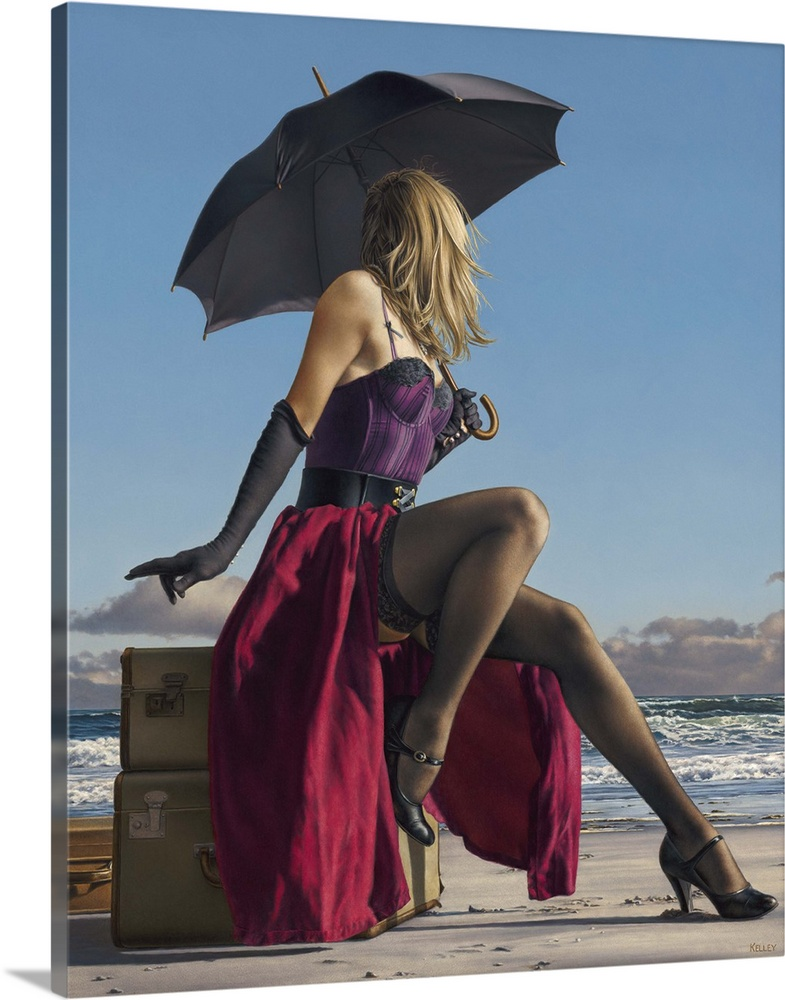 Large Solid-Faced Canvas Print Wall Art Print 24 x 30 entitled On Crescent Beach Solid-Faced Canvas Print entitled On Crescent Beach.  Contemporary painting of a woman wearing lingerie and holding an umbrella, while sitting on luggage on the beach.  Multiple sizes available.  Primary colors within this image include Plum, Peach, Dark Gray, Gray Blue.  Made in USA.  All products come with a 365 day workmanship guarantee.  Archival-quality UV-resistant inks.  Canvas is handcrafted and made-to-order in the United States using high quality artist-grade canvas.  Canvas depth is 1.25 and includes a finished backing with pre-installed hanging hardware.
