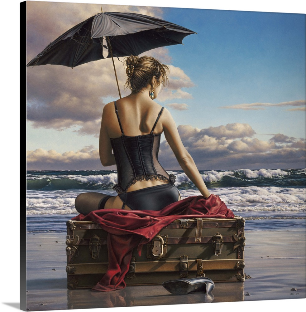 Large Solid-Faced Canvas Print Wall Art Print 20 x 20 entitled On the Edge of the World Solid-Faced Canvas Print entitled On the Edge of the World.  Contemporary painting of a woman wearing lingerie and holding an umbrella, while sitting on luggage on the beach.  Multiple sizes available.  Primary colors within this image include Dark Red, Dark Gray, Light Gray.  Made in USA.  All products come with a 365 day workmanship guarantee.  Archival-quality UV-resistant inks.  Canvas depth is 1.25 and includes a finished backing with pre-installed hanging hardware.  Canvas is handcrafted and made-to-order in the United States using high quality artist-grade canvas.