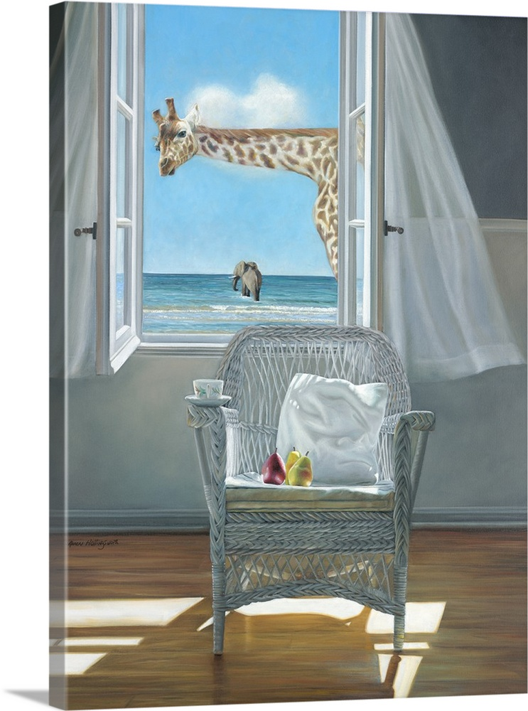 Large Gallery-Wrapped Canvas Wall Art Print 23 x 30 entitled Rubberneck Gallery-Wrapped Canvas entitled Rubberneck.  Contemporary still life painting of a pillow on a chair next to an open window with a white curtain and the beach outside, with a giraffe looking in.  Multiple sizes available.  Primary colors within this image include Brown, Gray, Pale Blue.  Made in USA.  Satisfaction guaranteed.  Archival-quality UV-resistant inks.  Canvas frames are built with farmed or reclaimed domestic pine or poplar wood.  Canvas is acid-free and 20 millimeters thick.