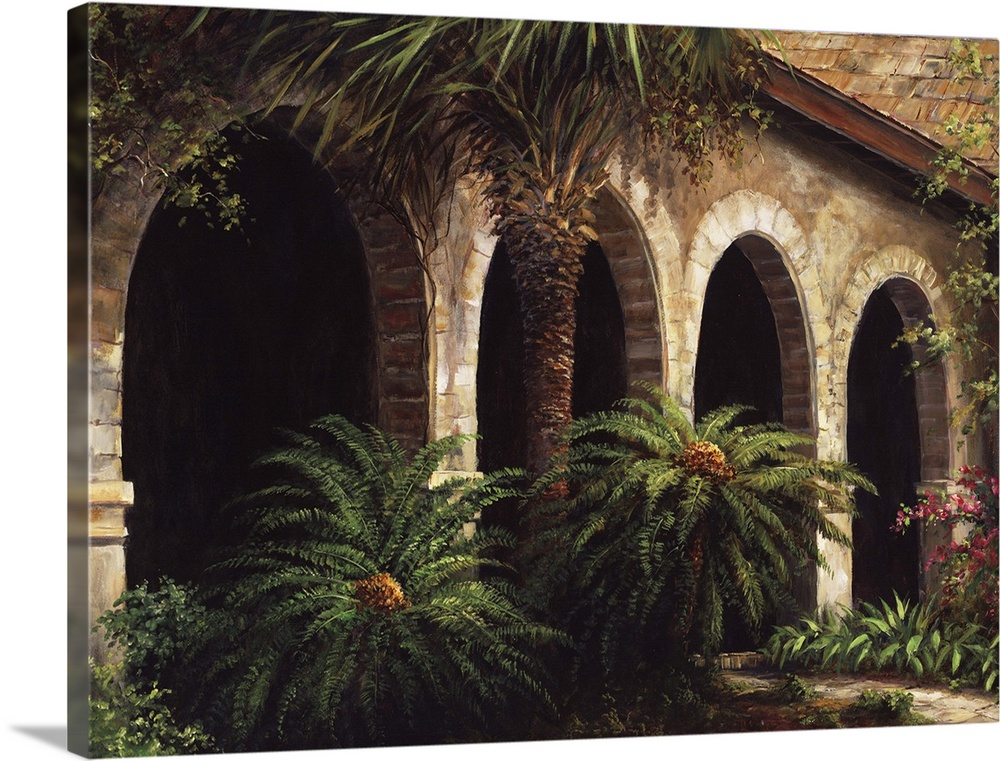 Large Solid-Faced Canvas Print Wall Art Print 40 x 30 entitled Sago Arches Solid-Faced Canvas Print entitled Sago Arches.  Fronck 44 Avvnue Mondoza, 11904, 317 PM,  8C, 5842x7654 1164 3180, 150, New Camera Set,  150 s, R112.0, G73.0, B85.0.  Multiple sizes available.  Primary colors within this image include Peach, Black, Gray.  Made in USA.  All products come with a 365 day workmanship guarantee.  Inks used are latex-based and designed to last.  Archival inks prevent fading and preserve as much fine detail as possible with no over-saturation or color shifting.  Featuring a proprietary design, our canvases produce the tightest corners without any bubbles, ripples, or bumps and will not warp or sag over time.