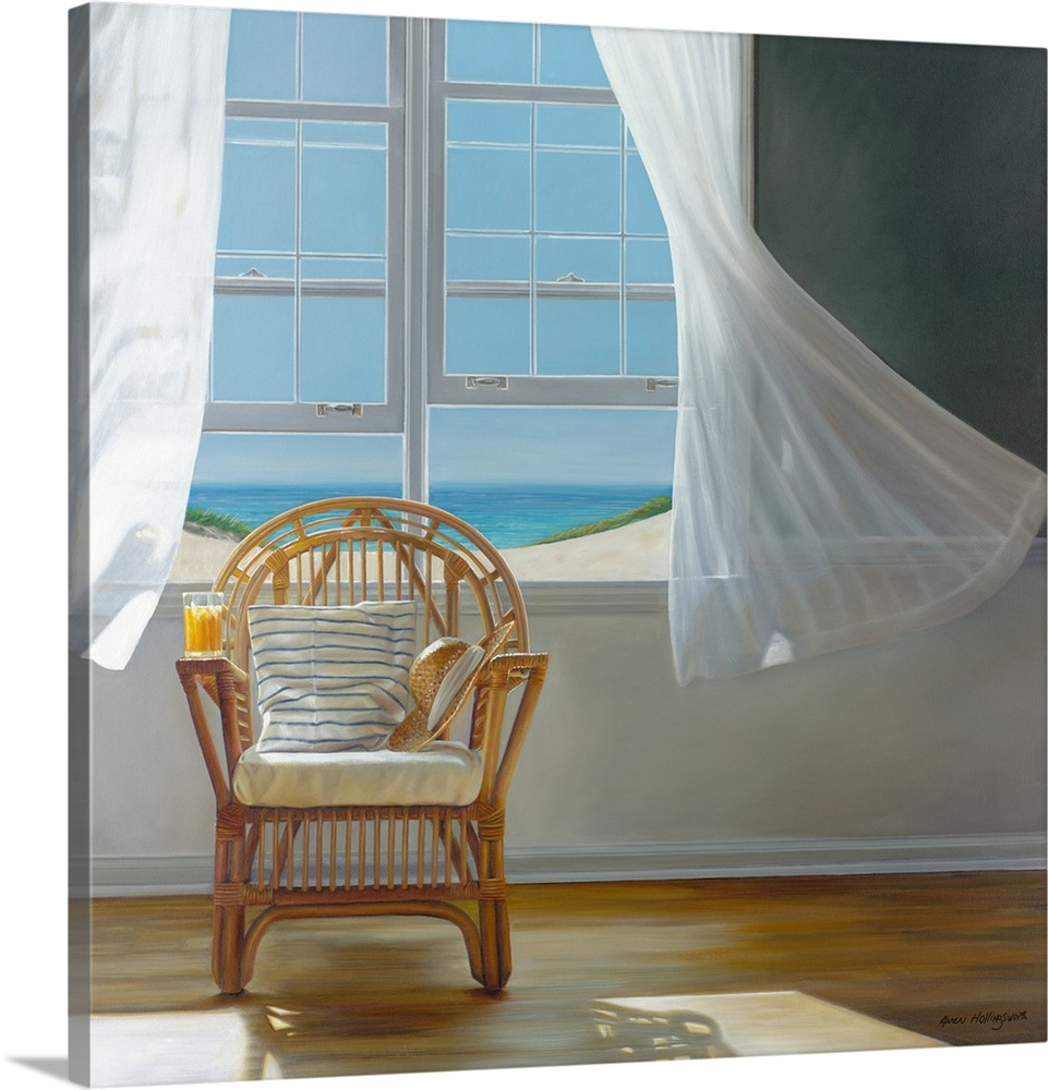Large Gallery-Wrapped Canvas Wall Art Print 20 x 20 entitled Tea Time Gallery-Wrapped Canvas entitled Tea Time.  Contemporary still life painting of a pillow on a chair next to an open window with a white curtain and the beach outside.  Multiple sizes available.  Primary colors within this image include Brown, Light Yellow, Gray, White.  Made in USA.  Satisfaction guaranteed.  Inks used are latex-based and designed to last.  Canvas is designed to prevent fading.  Canvases are stretched across a 1.5 inch thick wooden frame with easy-to-mount hanging hardware.