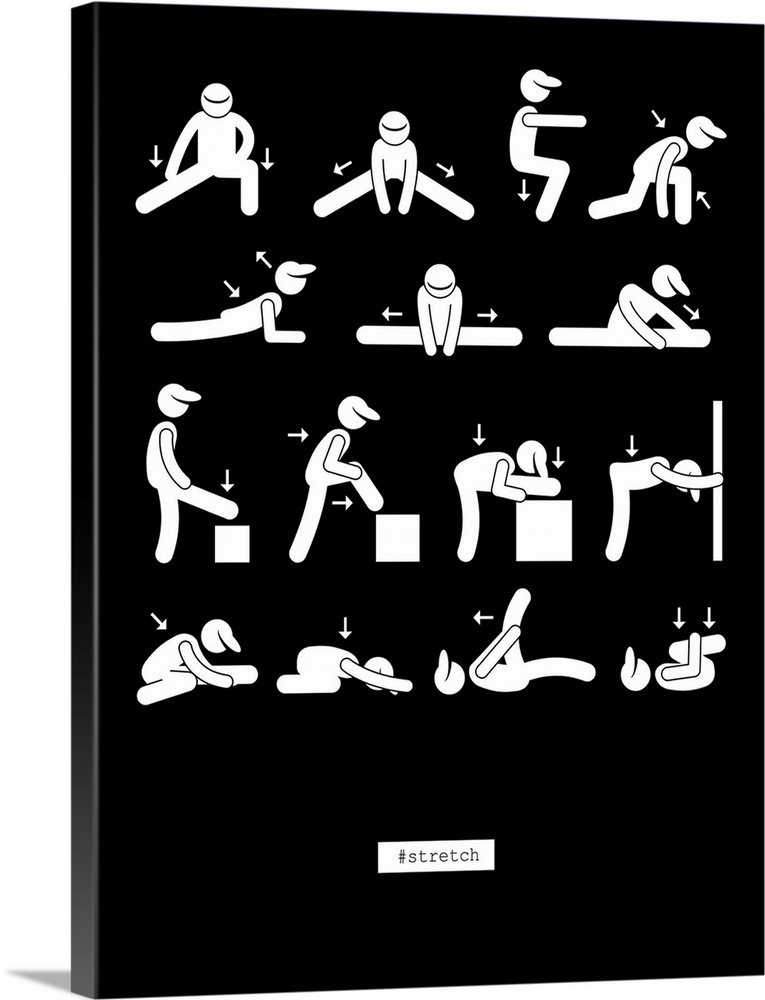 Large Solid-Faced Canvas Print Wall Art Print 30 x 40 entitled Workout Solid-Faced Canvas Print entitled Workout.  Illustration of a set of stretching methods on a chart. .  Multiple sizes available.  Primary colors within this image include Black, Gray, White.  Made in USA.  Satisfaction guaranteed.  Inks used are latex-based and designed to last.  Canvas depth is 1.25 and includes a finished backing with pre-installed hanging hardware.  Archival inks prevent fading and preserve as much fine detail as possible with no over-saturation or color shifting.