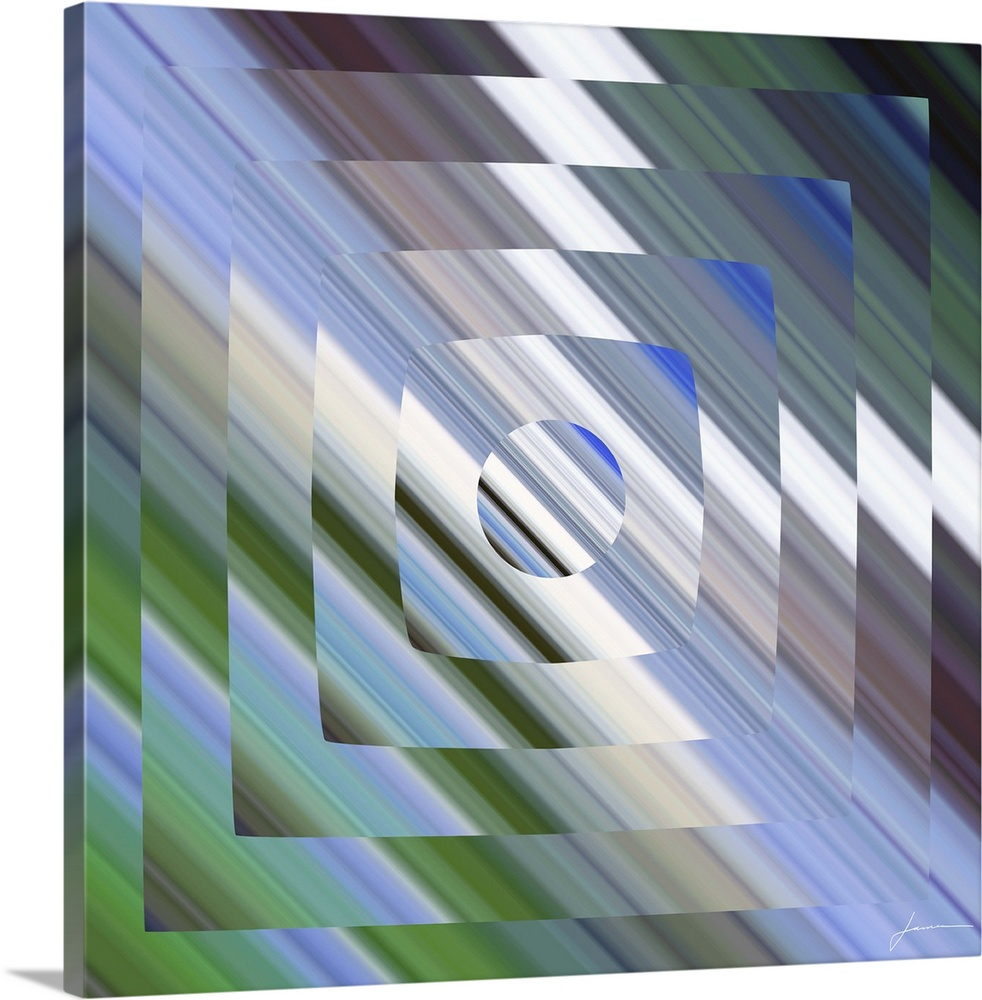 Large Gallery-Wrapped Canvas Wall Art Print 16 x 16 entitled Broadcast 2 Gallery-Wrapped Canvas entitled Broadcast 2.  A geometric abstract reminiscent of the flicker of old tube televisions.  Multiple sizes available.  Primary colors within this image include Forest Green, Sky Blue, Gray, White.  Made in the USA.  Satisfaction guaranteed.  Inks used are latex-based and designed to last.  Canvas is acid-free and 20 millimeters thick.  Canvases are stretched across a 1.5 inch thick wooden frame with easy-to-mount hanging hardware.